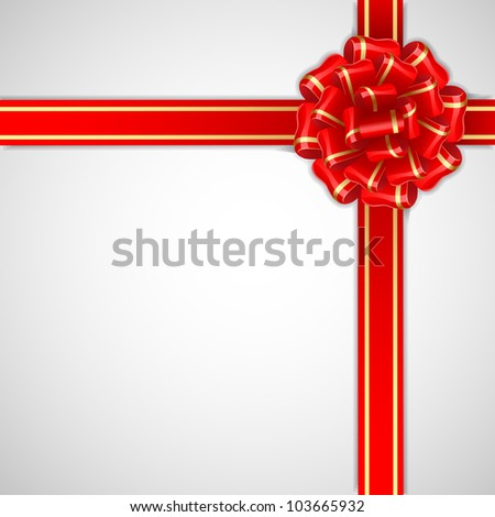 illustration of bow ribbon with golden border on white background - stock vector