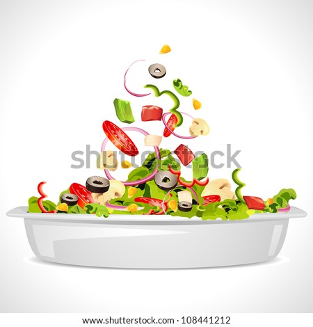 illustration of bowl full of fresh vegetable salad