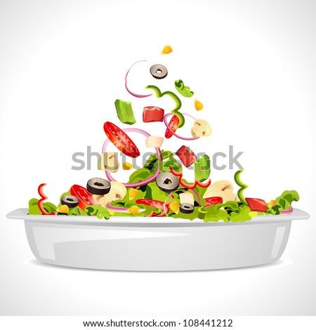 illustration of bowl full of fresh vegetable salad - stock vector