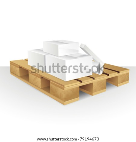 Illustration of Boxes in wood pallet - stock vector