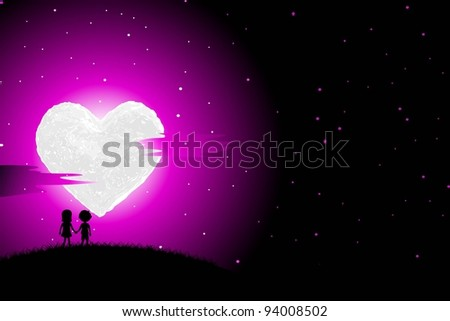 illustration of boy and girl walking in romantic night with heart shaped moon - stock vector