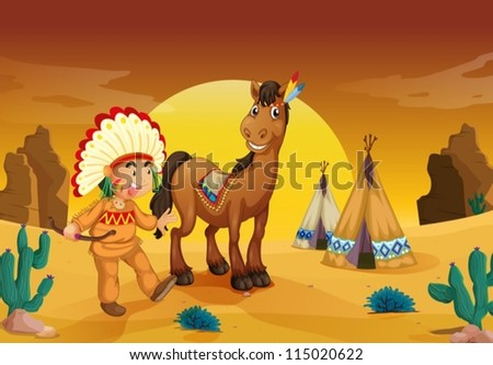 illustration of boy and horse in a desert