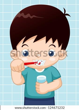 illustration of Boy brushing his teeth - stock vector