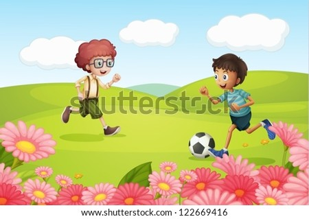 Illustration of boy's playing football in a beautiful nature - stock vector