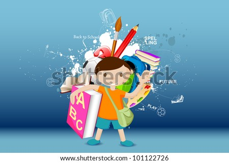 illustration of boy standing with book on education background - stock vector