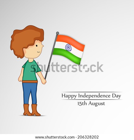 Illustration of boy with Indian Flag for Independence Day
