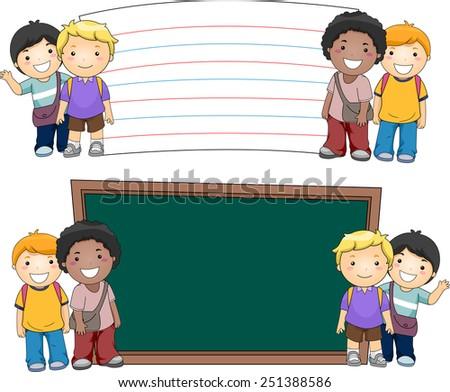Illustration of Boys Standing Beside Blank Boards - stock vector