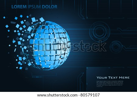 illustration of breaking earth on abstract technological background - stock vector