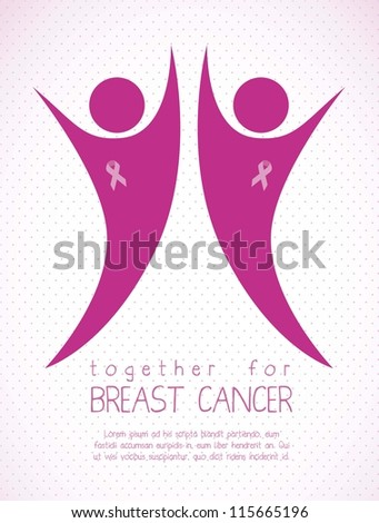 Illustration of breast cancer, fighting breast cancer,  woman with awareness ribbon, vector illustration - stock vector
