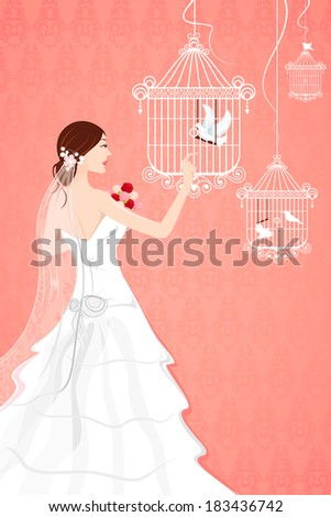 illustration of bride with bird cage on seamless backdrop - stock vector