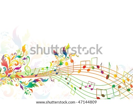 illustration of bright rainbow notes with multicolored floral. Copyspace for your text - stock vector