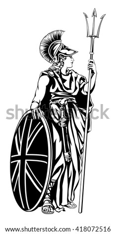 Illustration of Britannia, personification of Britain, holding a Union Jack Shield and trident - stock vector