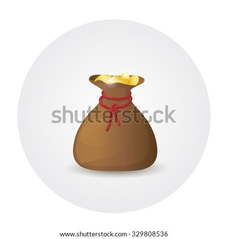 Illustration of brown leather sack full of golden coins. Bag with money - stock vector