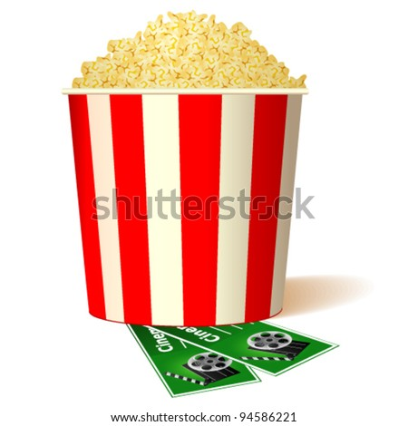 illustration of bucket full of popcorn with two tickets - stock vector