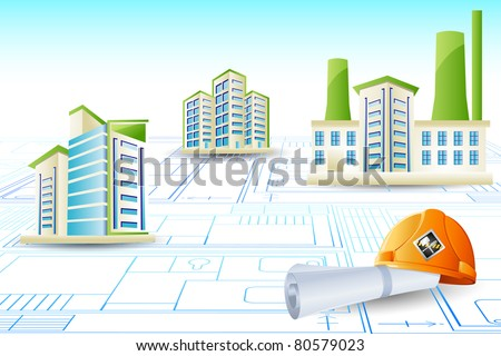 illustration of building on blue print with hard hat - stock vector