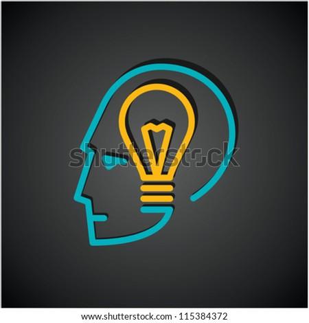 Illustration of bulb  in human head - stock vector