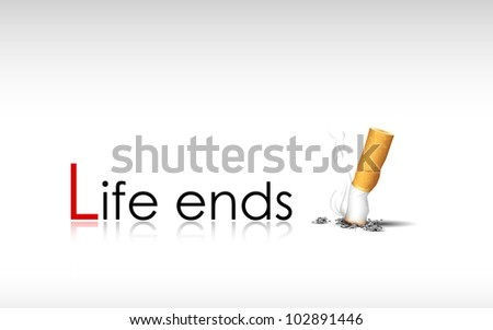 illustration of burning cigarette showing end of life - stock vector
