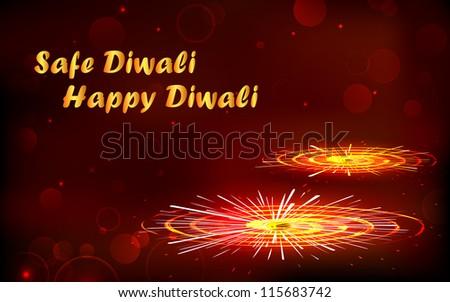 illustration of burning firecracker for happy and safe Diwali - stock vector