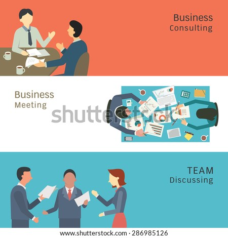 Illustration of business conversation concept, partner consulting, meeting, talking and discussing. Simple and flat design.  - stock vector
