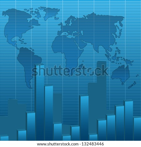 illustration of business graphs with world map blue background.