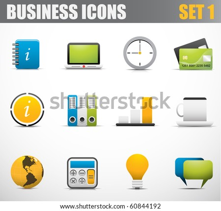 Illustration of business icons - stock vector