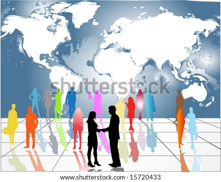 Illustration of business people and map