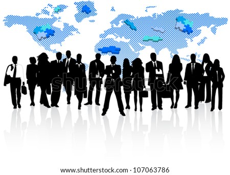 Illustration of business people, map and puzzle - stock vector