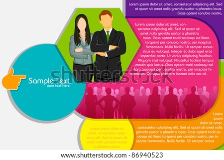 illustration of business people on abstract background - stock vector