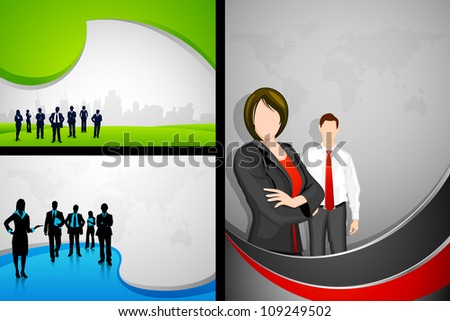 illustration of business people on corporate template - stock vector
