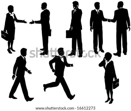 Illustration of business people silhouetted in various poses - stock vector