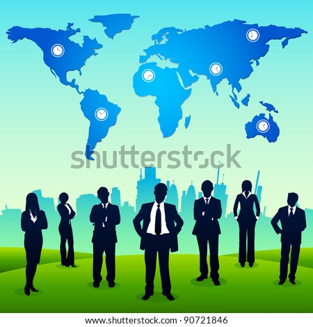 illustration of business people standing in backdrop of urban city - stock vector