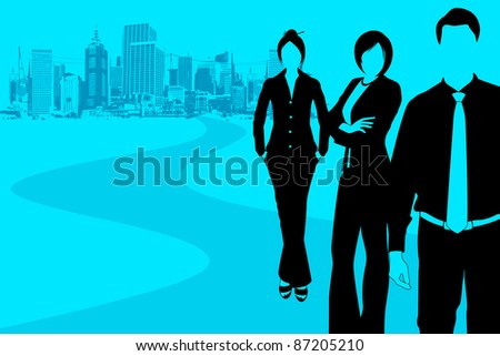 illustration of business people standing with grungy city backdrop - stock vector
