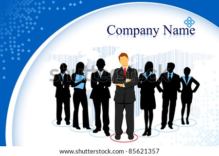illustration of business people standing with leader in business template - stock vector