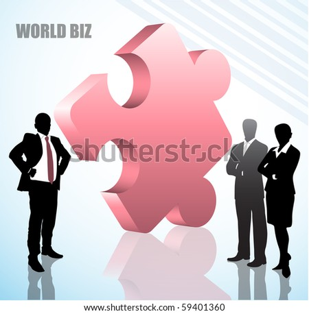 Illustration of business people with puzzle. Vector is created with simple shapes and colors