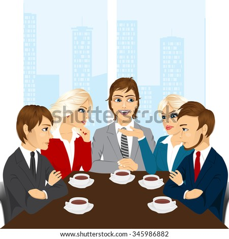 illustration of business team discussing new projects at office while drinking coffee or tea - stock vector