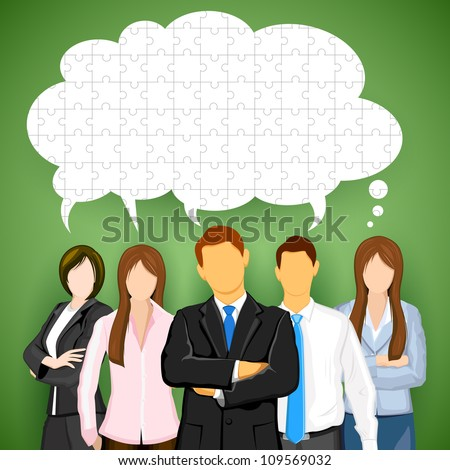 illustration of business team with chat bubble made of jigsaw puzzle pieces - stock vector