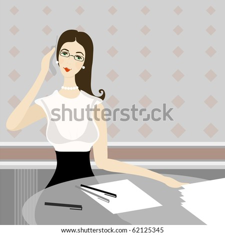 Illustration of business woman - stock vector