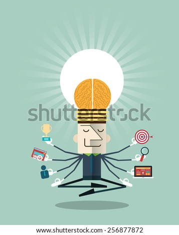 Illustration of businessman meditating with multitasking.Human resources and self-development concepts - vector illustration - stock vector