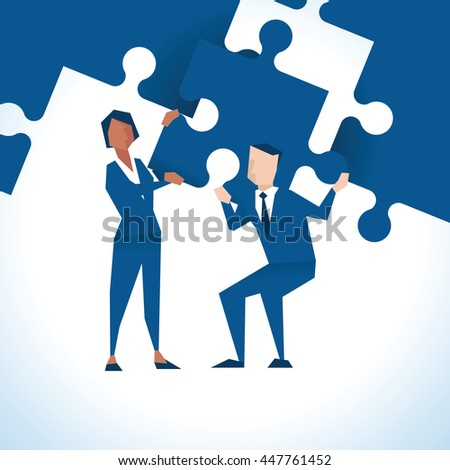 Illustration Of Businesspeople With Piece Of Jigsaw Puzzle