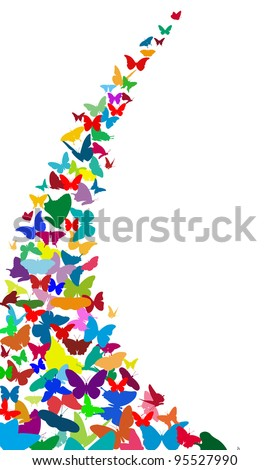 illustration of butterflies isolated on white - stock vector