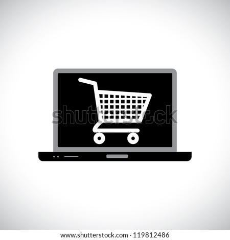 Illustration of buying or shopping online using computer. The graphic contains a laptop and shopping cart icon on its screen representing the concept of e-commerce/online shopping/e-business, etc. - stock vector