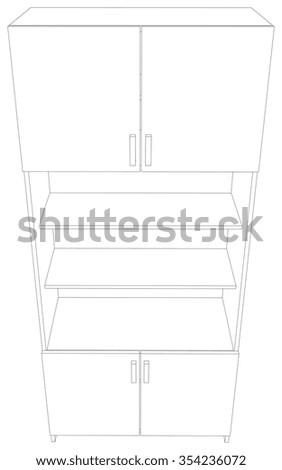 Illustration of cabinet on white background, vector illustration - stock vector