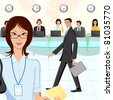illustration of call center executive in office - stock photo