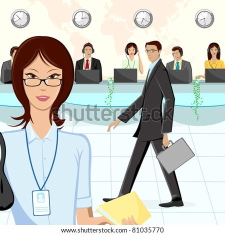 illustration of call center executive in office - stock vector