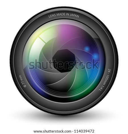 Illustration of camera lens isolated on a white background. Vector. - stock vector