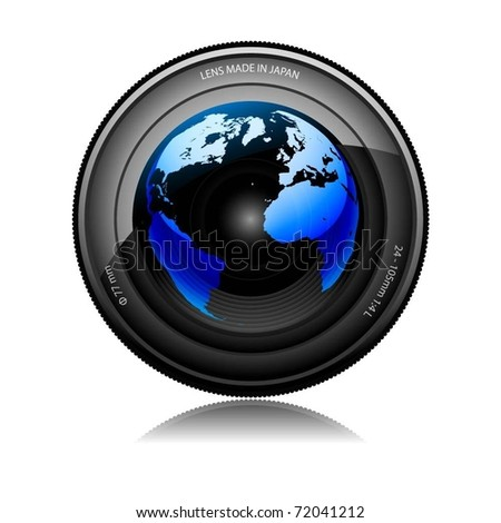 Illustration of camera lens with reflecting globe on a white background. Vector, eps10. - stock vector
