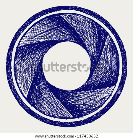 Illustration of camera shutter. Doodle style - stock vector