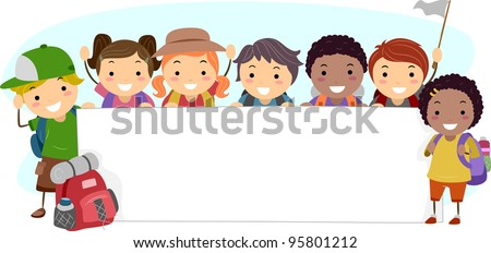 Illustration of Campers Holding a Blank Banner - stock vector