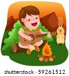 illustration of camping boy playing guitar - stock vector