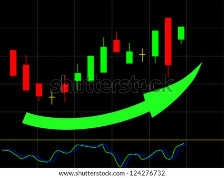 Illustration of candle stick bar stock chart - stock vector